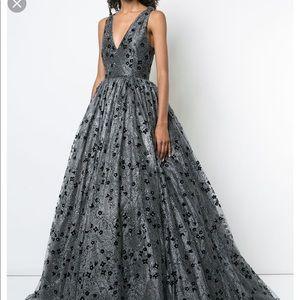 Christian Siriano Metallic Floral Embellish Dress
